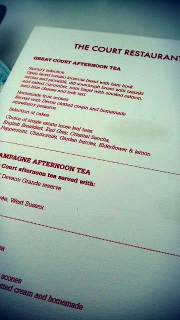 Court restaurant menu