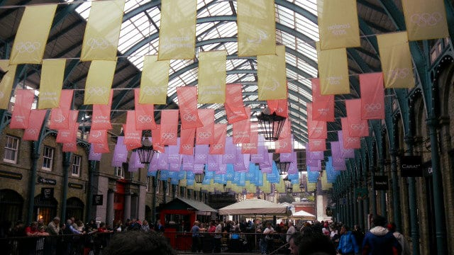 covent garden Olympic flags