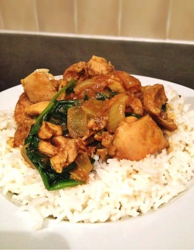 Chicken saag curry on basmati rice