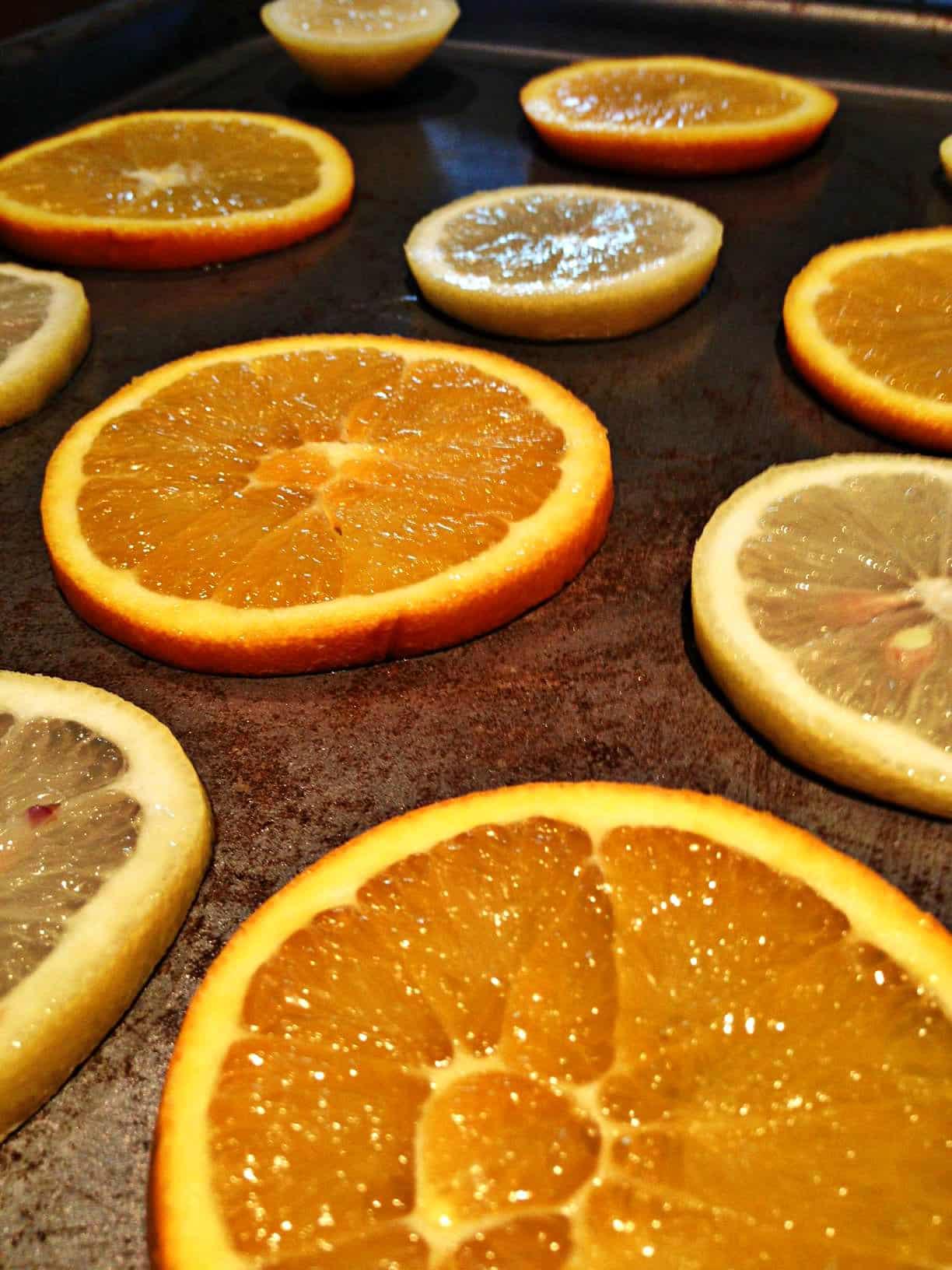 Orange lemon Christmas decoration baking tray