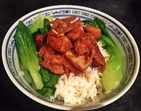 Rick Stein Chinese stew rice and pak choi