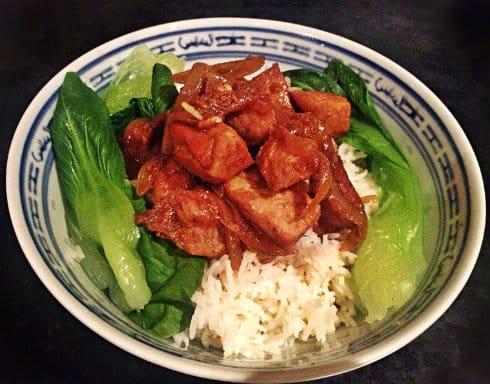 Rick Stein Chinese stew rice and pak choi