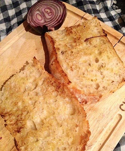 Ciabatta bread olive oil steak sandwich