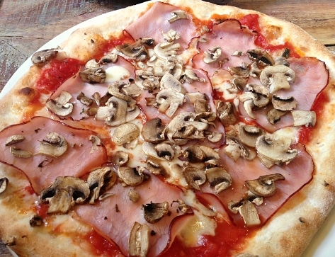 Smoked ham mushroom pizza Nonna's Woburn Sands