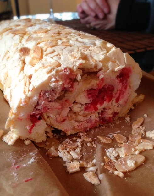 Raspberry almond roulade Mary Berry