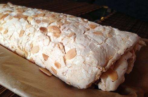 Raspberry almond roulade