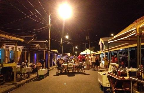 Anse La Raye red snapper BBQ fish fry street party