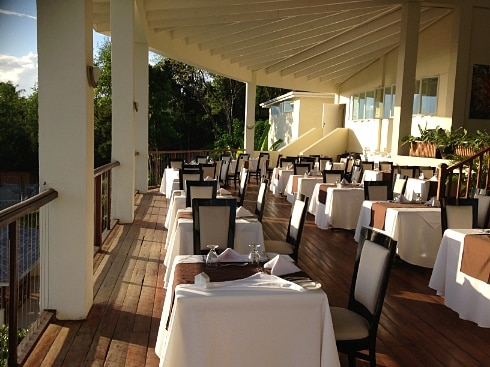 Calabash Cove Dining deck St Lucia