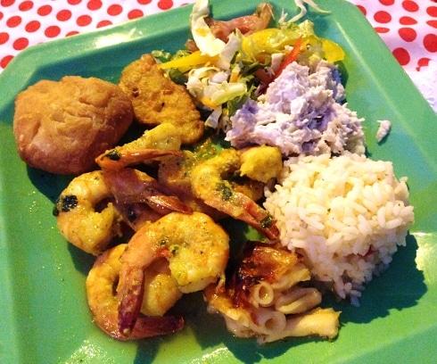 Garlic prawns fish fry Anse La Raye St Lucia