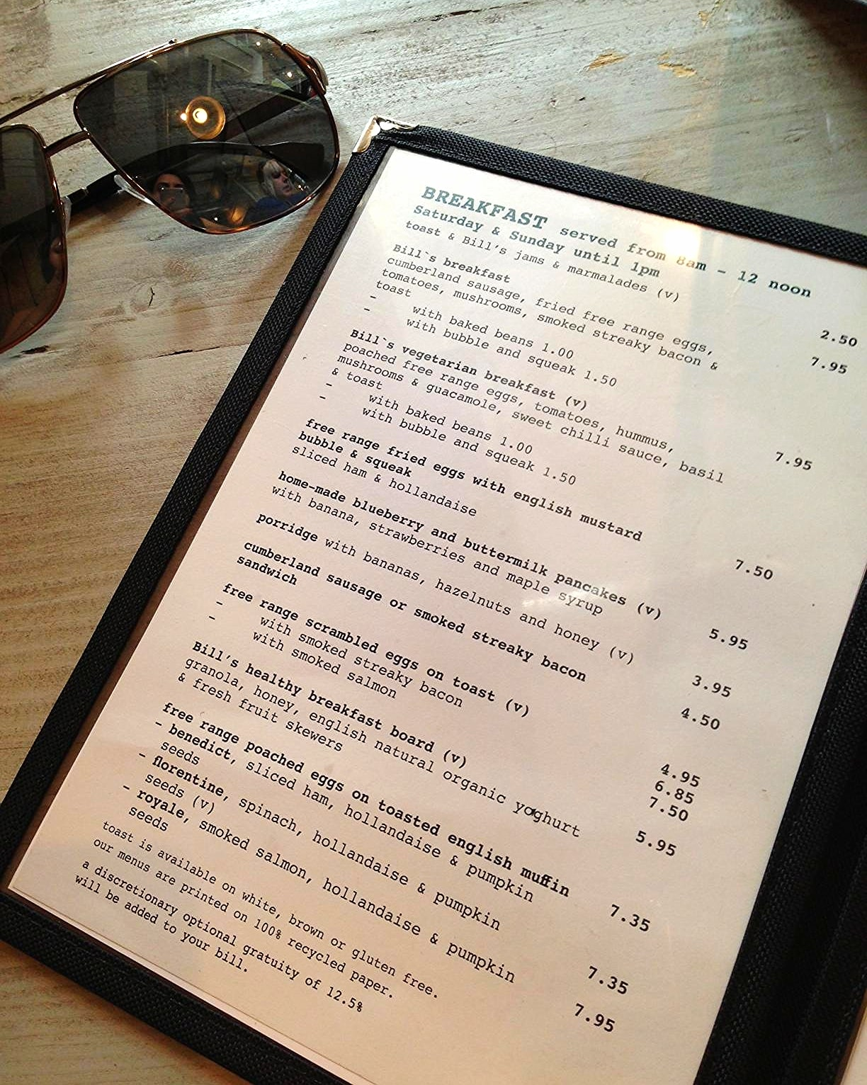 Bill's menu Hoxton Square London