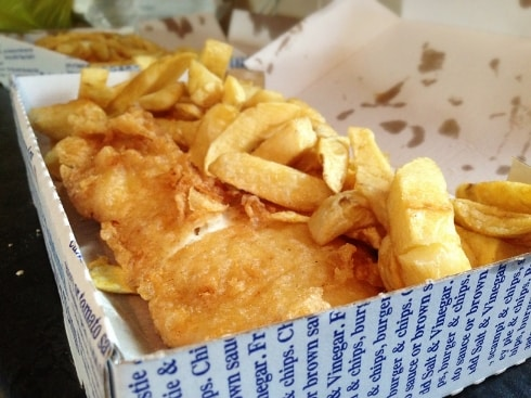 Sam 39 s fish chips girl eats world for Fish and chips newspaper
