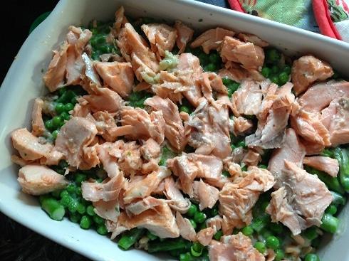 Salmon pea asparagus pasta bake recipe