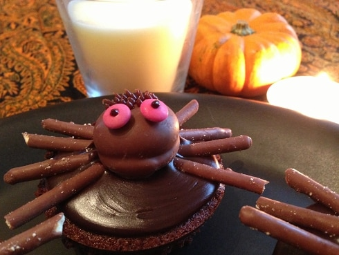 Chocolate coffee Halloween spider cupcake
