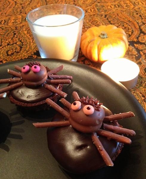 Halloween chocolate coffee spider cupcakes