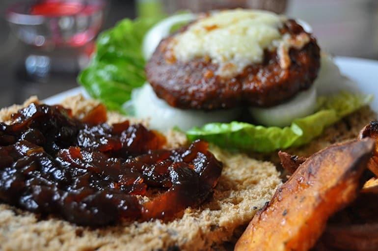 Lamb burger onion relish G J Douglas butchers Newport Pagnell