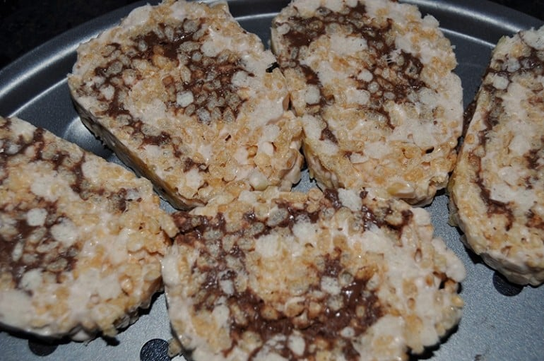 Rice crispy marshmallow treats with nutella recipe slices