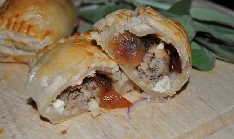 Sausage roll recipe with red onion feta puff pastry