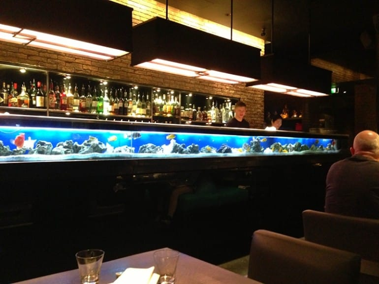 Yauatcha dim sum Soho London aquarium bar