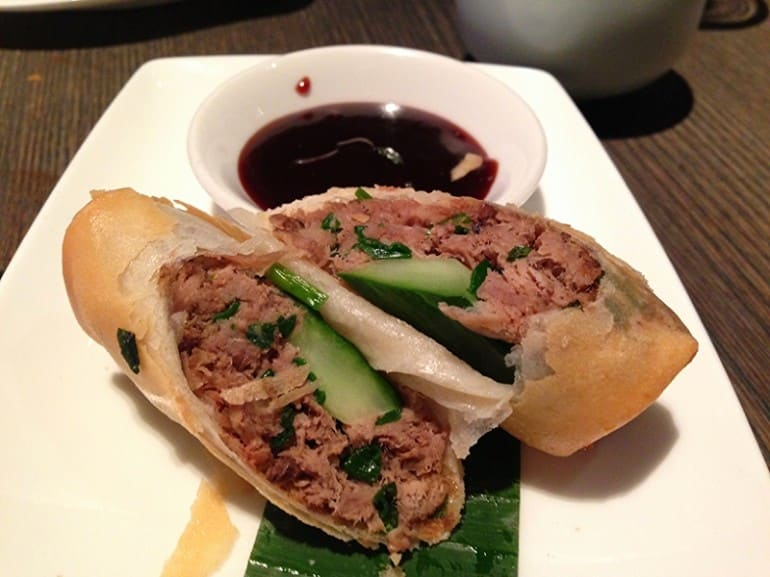 Yauatcha dim sum Soho London duck spring rolls