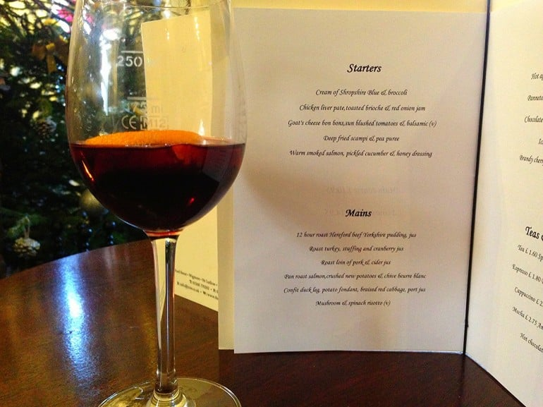 Castle Inn Wigmore restaurant review menu