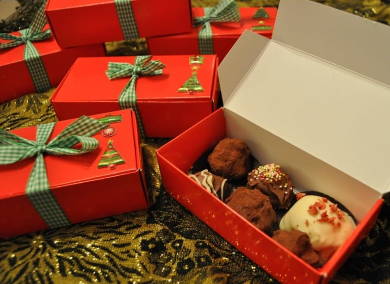Home made gift idea Christmas truffles
