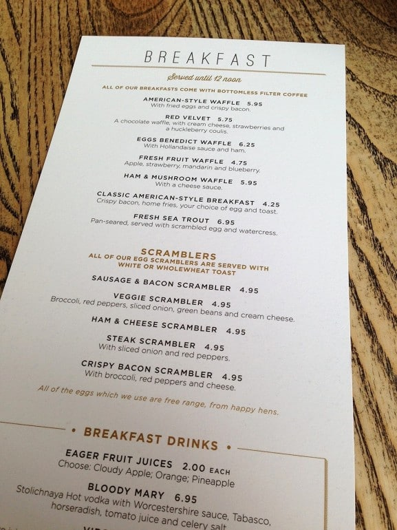 Missoula Milton Keynes breakfast menu