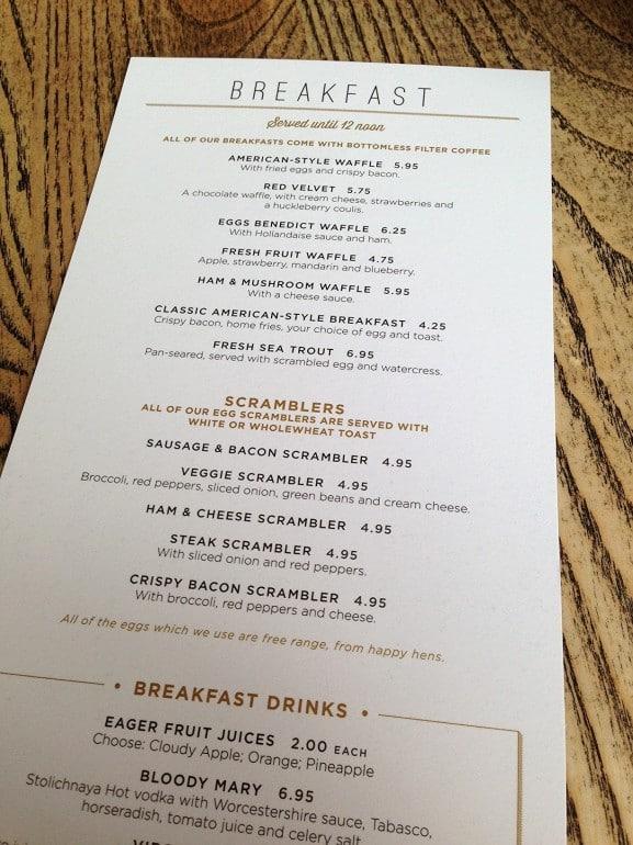 Missoula Milton Keynes breakfast menu