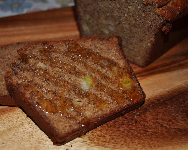 Manuka honey on healthy low carb paleo banana bread