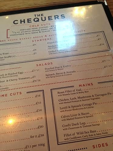 The Chequers Chipping Norton Menu