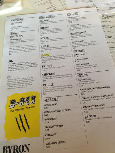 Byron Burger Milton Keynes review menu