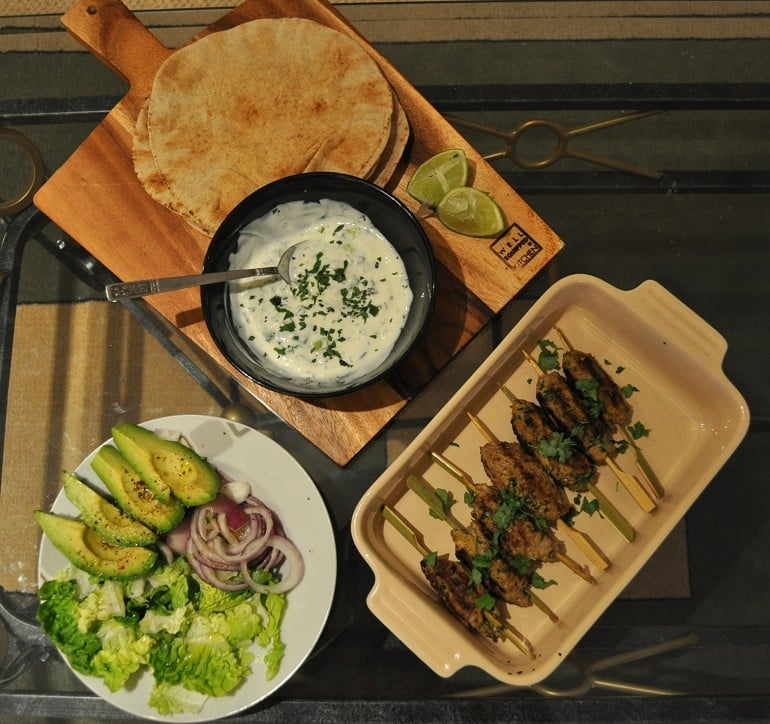 Lamb kofta recipe mint yoghurt salad flatbread