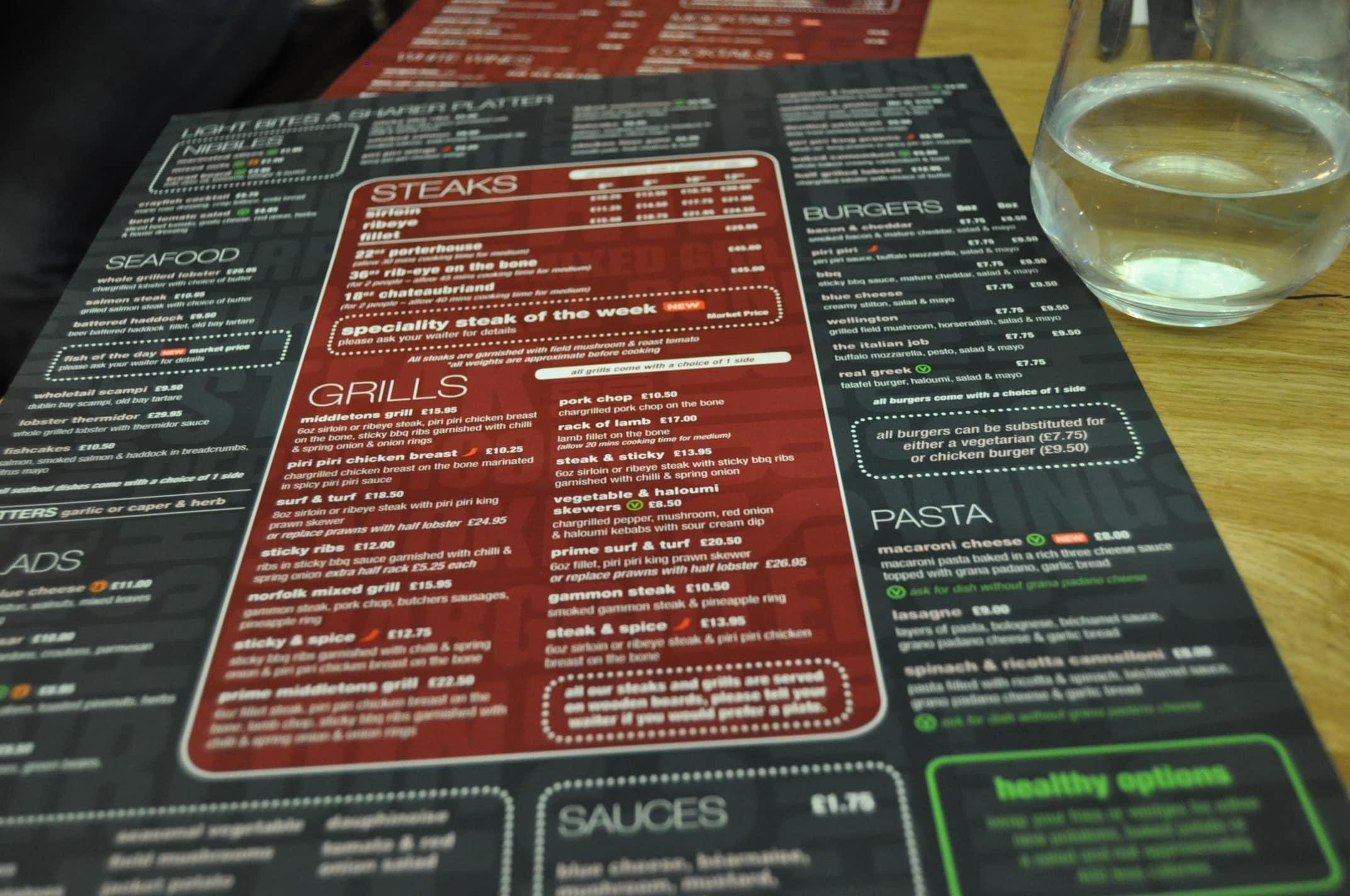 Middletons Steakhouse Milton Keynes menu