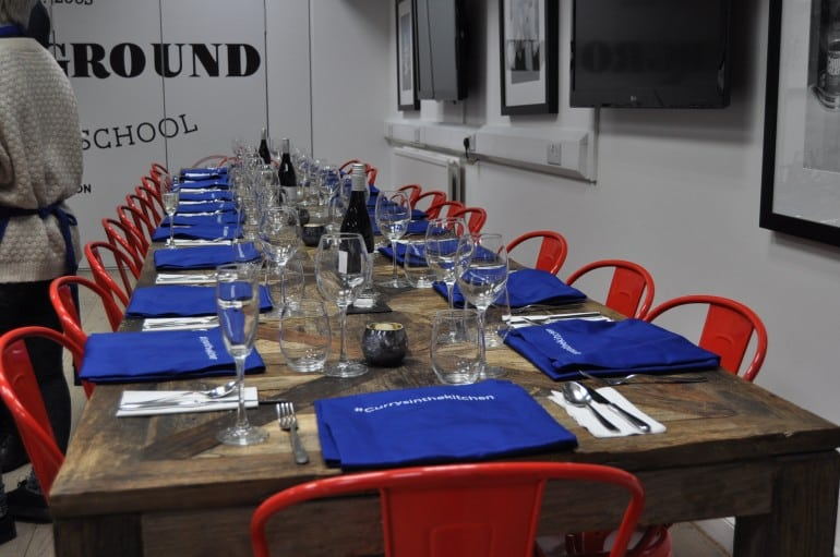 Underground Cookery School London dining table