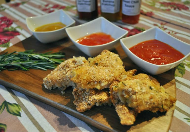 Herby chicken dippers baked crispy crust