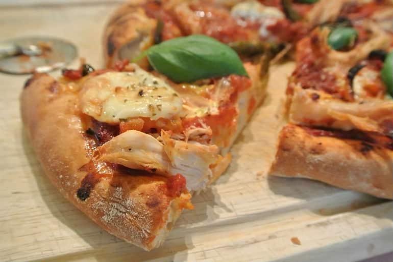 Rustic deep dish pizza recipe slice