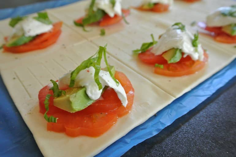 Tricolore pastries recipe tomato avocado mozzarella