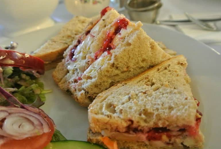 Bridge tea room Bradford on Avon review brie cranberry sandwich