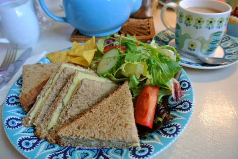 Court Gardens Holt tea room cheese sandwich lunch