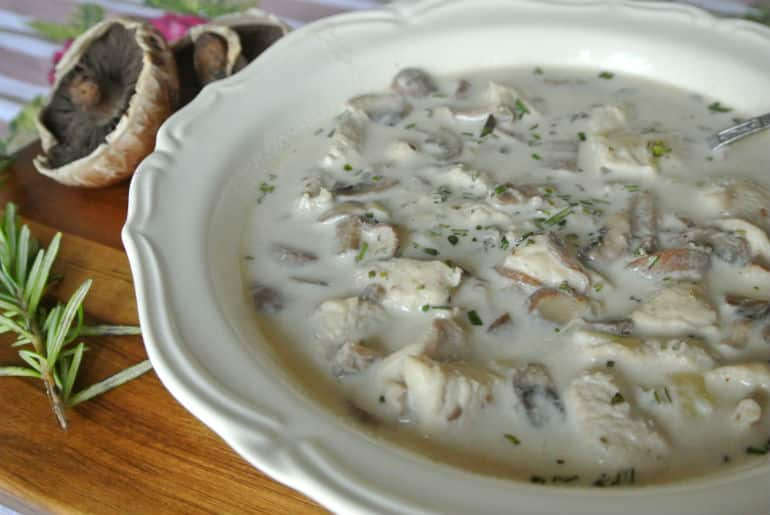 Creamy mushroom soup recipe with chicken