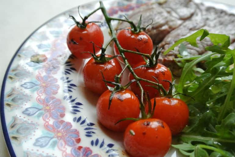 Griddled vine tomatoes