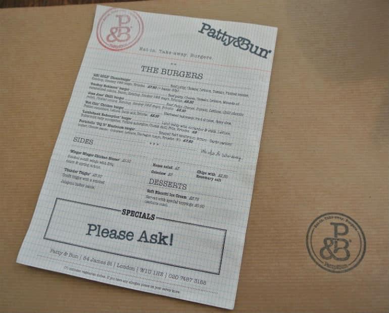 Patty & Bun burger review London St James menu