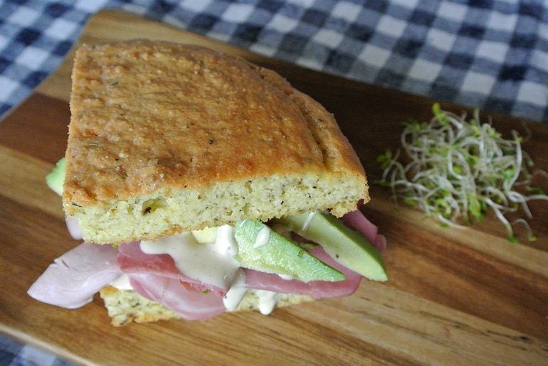 Keto bread low carb recipe deli sandwich almond flour mustard mayo