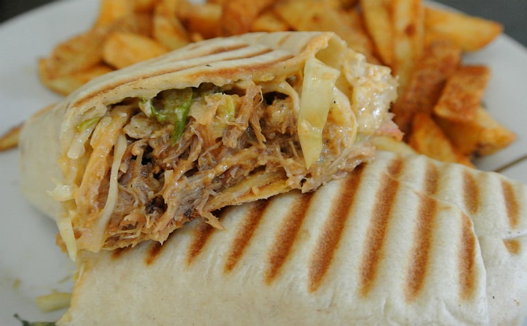 Percys bbq takeaway Milton Keynes review pulled pork wrap with slaw chips