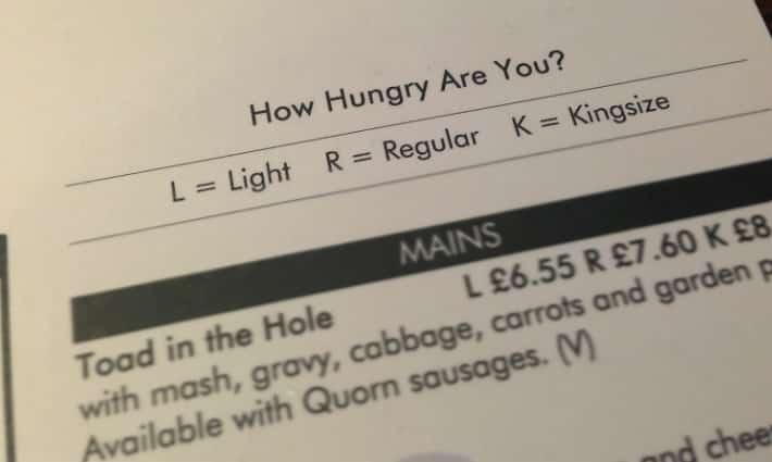Prince George pub tattenhoe Milton Keynes review menu portions