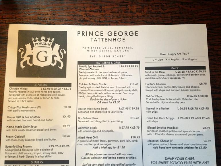 Prince George pub tattenhow milton keynes review menu