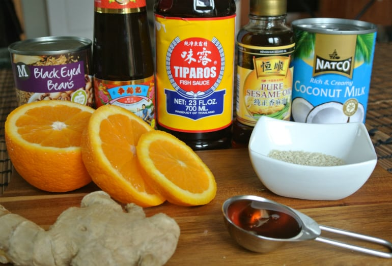 Sticky ginger chicken recipe and coconut rice ingredients
