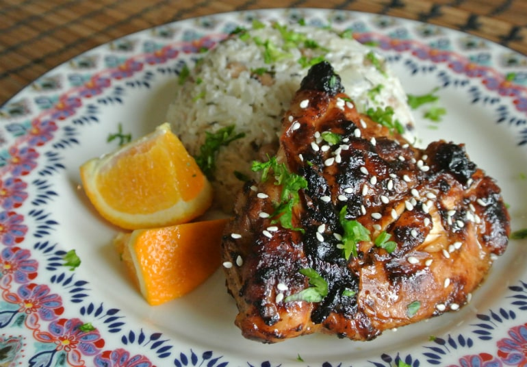 Sticky ginger chicken recipe with coconut rice dinner