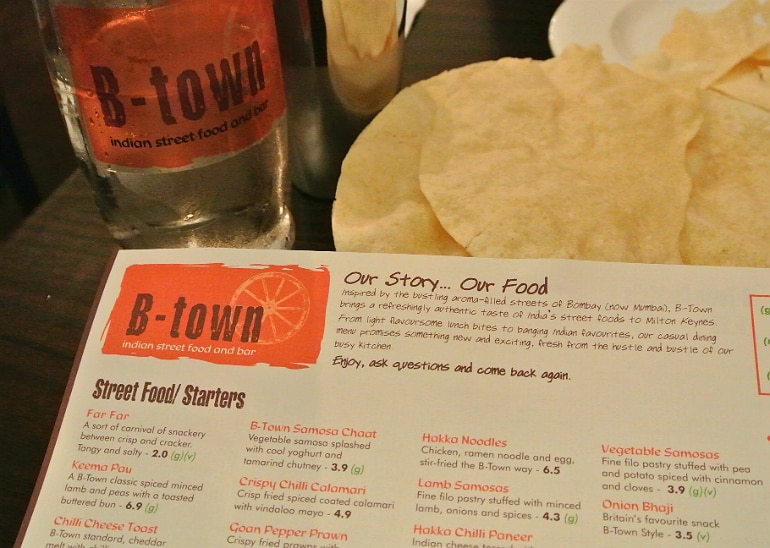 B-Town Milton Keynes Indian street food restaurant review menu