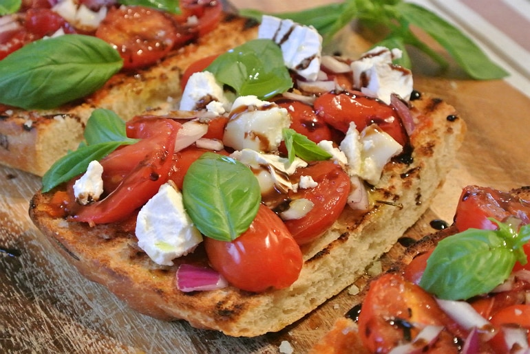 Salters Mustchup review bruschetta recipe tomato basil