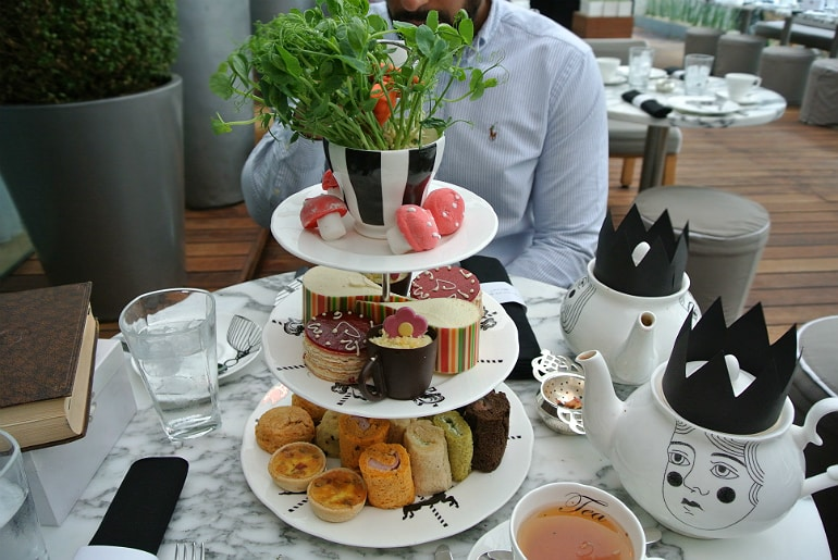 Sanderson London mad hatters tea party review cake stand